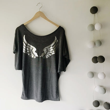 Angel Wing Drapey Sleeve Top Charcoal / Silver