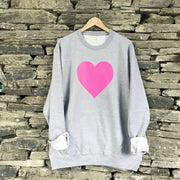 Heart Neon Boyfriend Fit Classic Sweat Grey Marl
