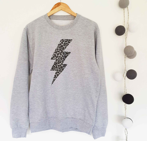 Leopard Flash Boyfriend Classic Sweat - Grey