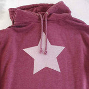 Faded Rust Hoodie Boyfriend Classic Sweat - Washed Rust & Dusty Pink Glitter Star