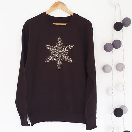 Leopard Snowflake Womens Slouchy Sweat