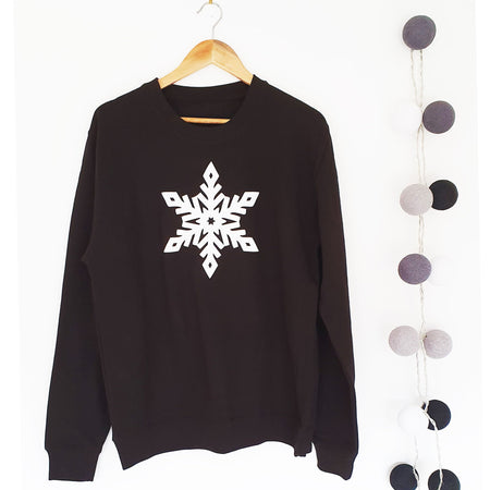 Glitter Snowflake Boyfriend Fit Sweat - Black / White Glitter