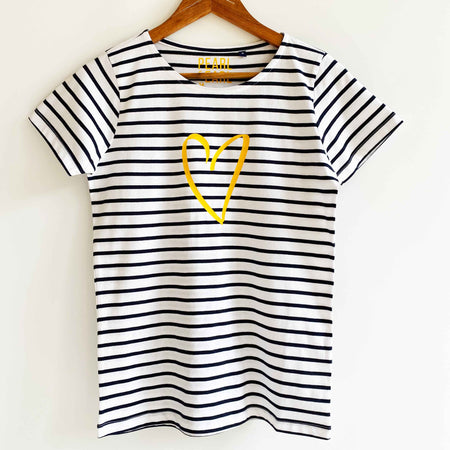 Breton Stripe 'Sketched Heart' 100% Cotton Short Sleeve Tee - White & Blue Stripe