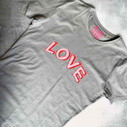 LOVE 100% Organic Cotton Classic Tee - Grey/ pink & red