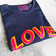 LOVE 100% Organic Cotton Classic Tee - French Navy/ Neon