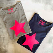 STAR 100% Organic Cotton Classic Tee - French Navy/ Neon