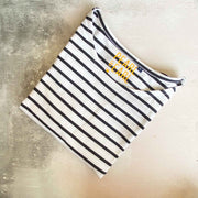 Breton Stripe 100% Cotton Short Sleeve Tee - White & Blue Stripe