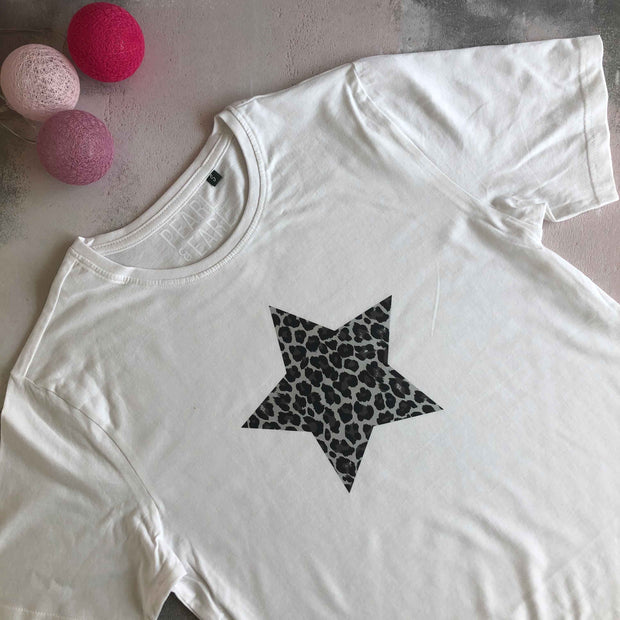 Leopard Star 100% Organic Cotton Classic Tee - White