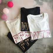 WTF 100% Organic Cotton Classic Tee - White/ Dusky Pink Glitter