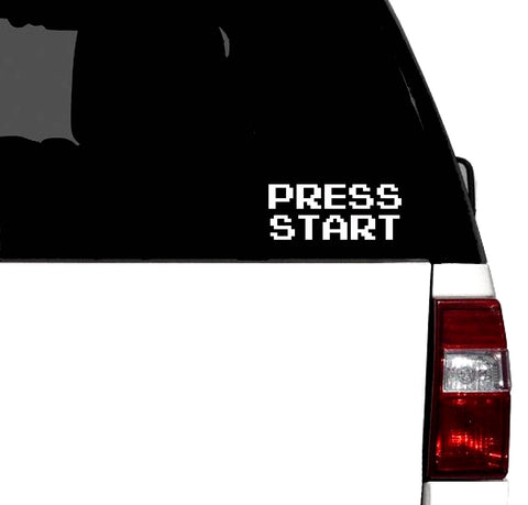 """Press Start""  Classic Arcade 8 Bit - Car Vinyl Decal"