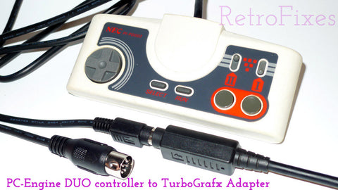 Adapt PC Engine, Duo, Core & Supergrafx controller to TurboGrafx + 4' Cable Extension - RetroFixes - 1