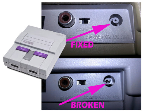 Super Nintendo SNES Power Port Repair + Custom Options