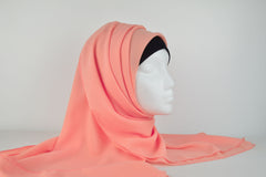 Peach Plain Square Hijab