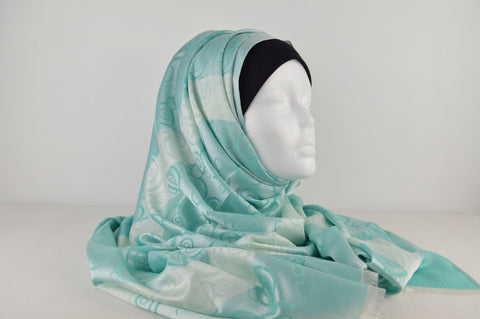 Satin Effect Circle Pattern with Stripe Hijab