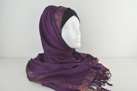 Indian Self Print Hijab with Shimmery Border and Tassels