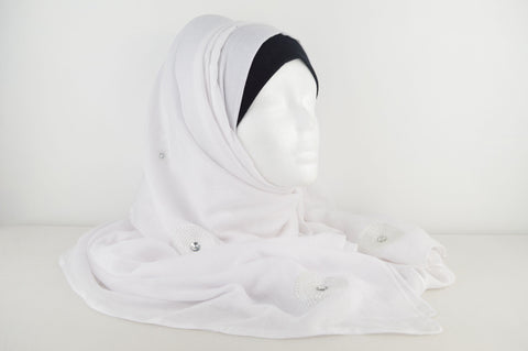 Indian Plain Hijab with Embroidery Detailing