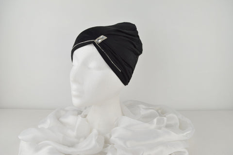 Black Central Diamante Bonnet Cap