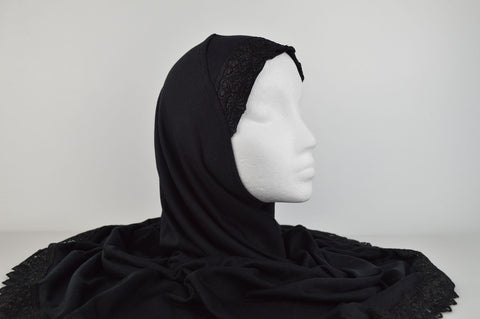 Al-Amira XL Extra Large Plain Hijabs with Lace in Black
