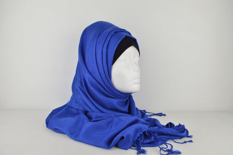Plain Textured Hijab with Tassels