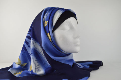 Flower Print Bordered Square Hijab in Blue
