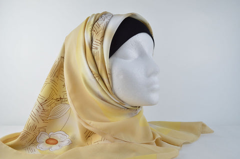 Flower Print Bordered Square Hijab in Light Brown