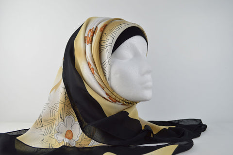 Flower Print Bordered Square Hijab
