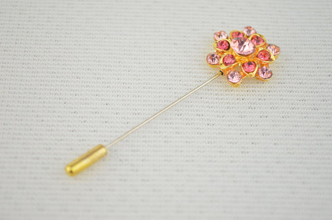 Overlap Flower Design Pin in Pink