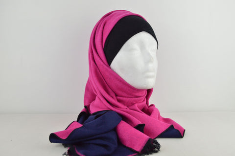 Warm Plain Reversible Hijab - Navy/Pink