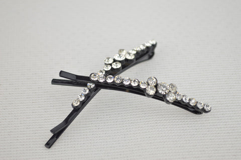 Pair of Hijab Pin Clips with Clear Diamante Stones