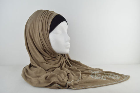 Jersey Hijab with Diamante Flower Pattern