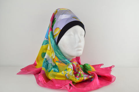 Square Printed Border Hijab