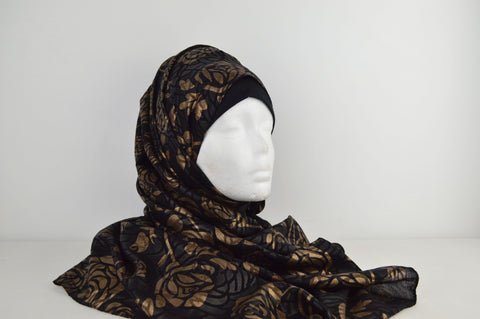 Black with Gold Rose Hijab