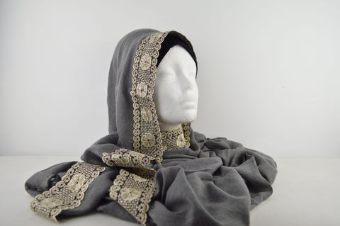 Gold Lace Edged Eastern Style Hijab