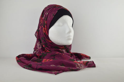Soft Feel Patterned Flowery Hijab