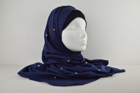 Plain Gold Diamante Hijab