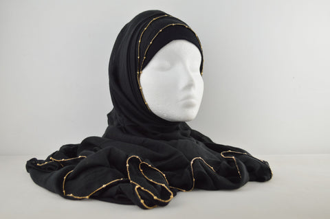 Plain Gold Chain Soft Feel Hijab
