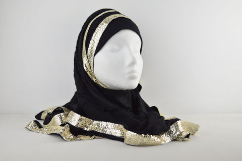 Gold Sequenced Lace Plain Hijab