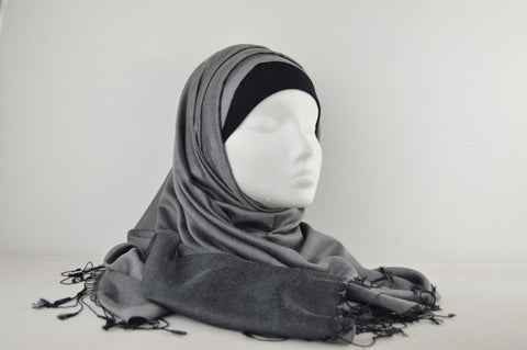 Silk Plain Reversible Hijab with Tassels