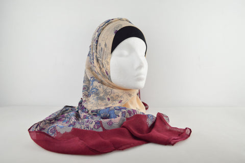 Retro Flower Print Hijab