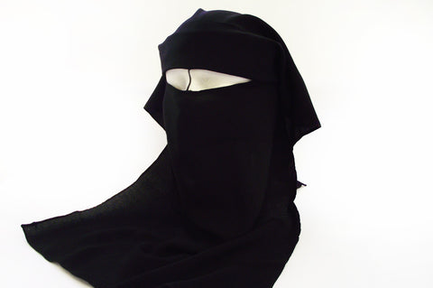 Double Layer Niqab with Tie-Back Fastening