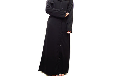Plain Abaya With Front Opening Buttons