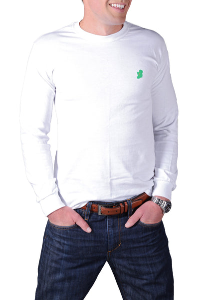 Men's Long Sleeve White Irish T Shirts by Ireland Shirt-1