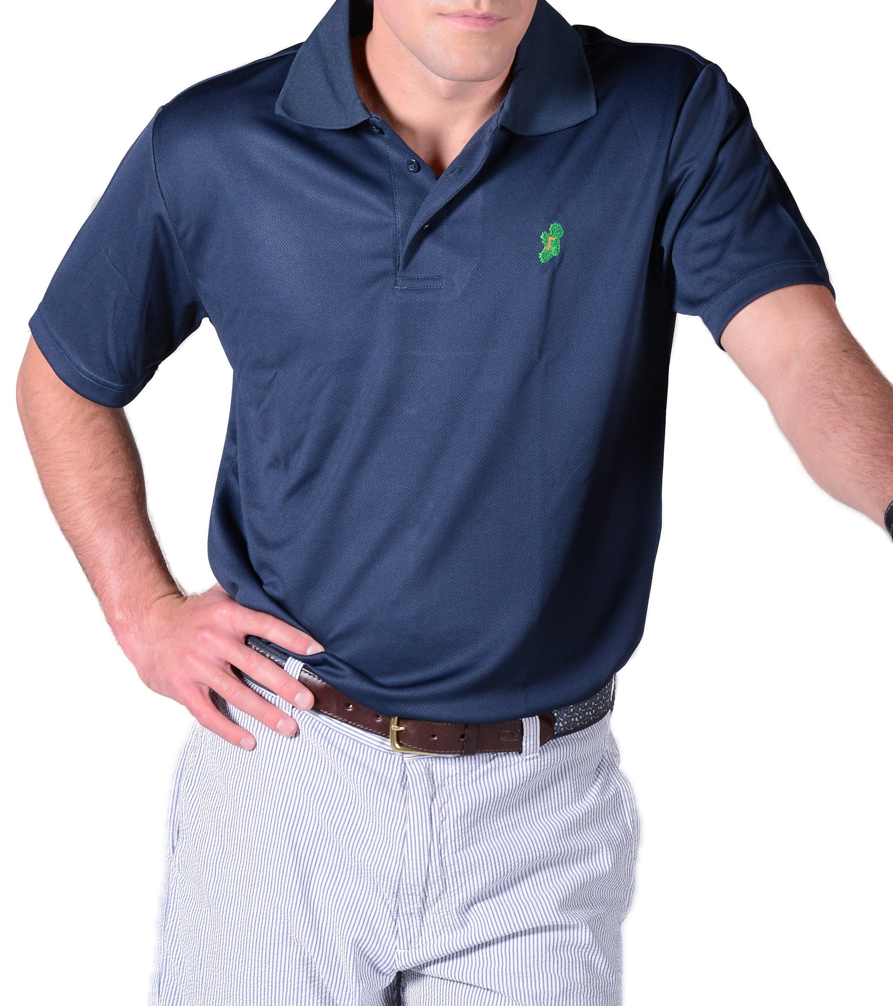 Men's Navy Blue Irish Golf Shirts by Ireland Shirt