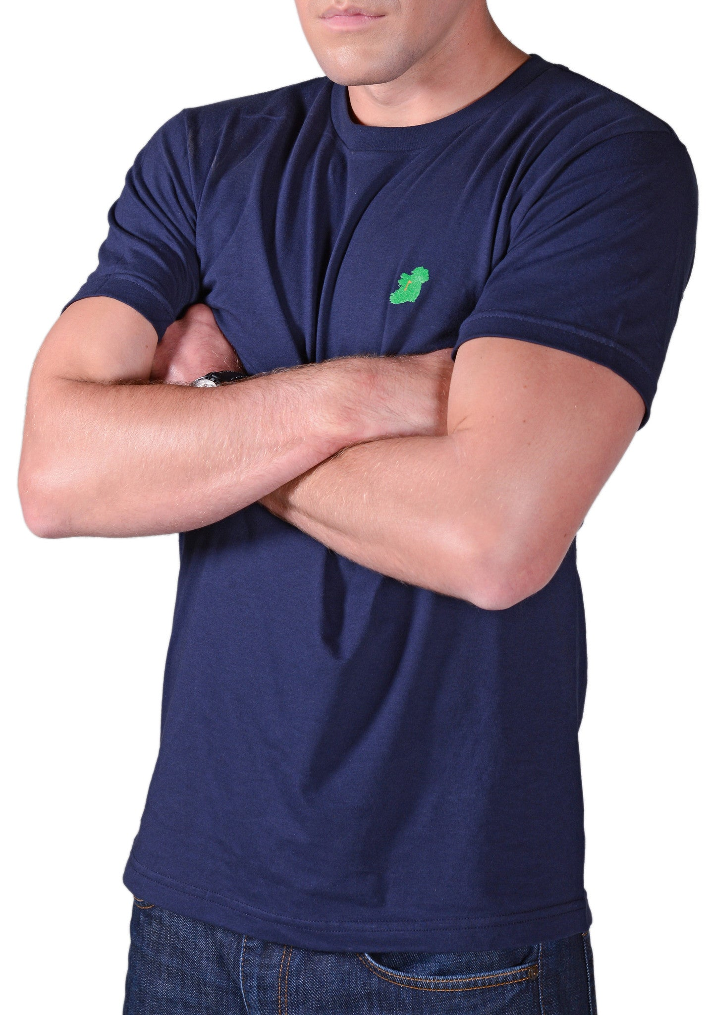 Men's Navy Blue Slim Fit Irish T Shirt by Ireland Shirt