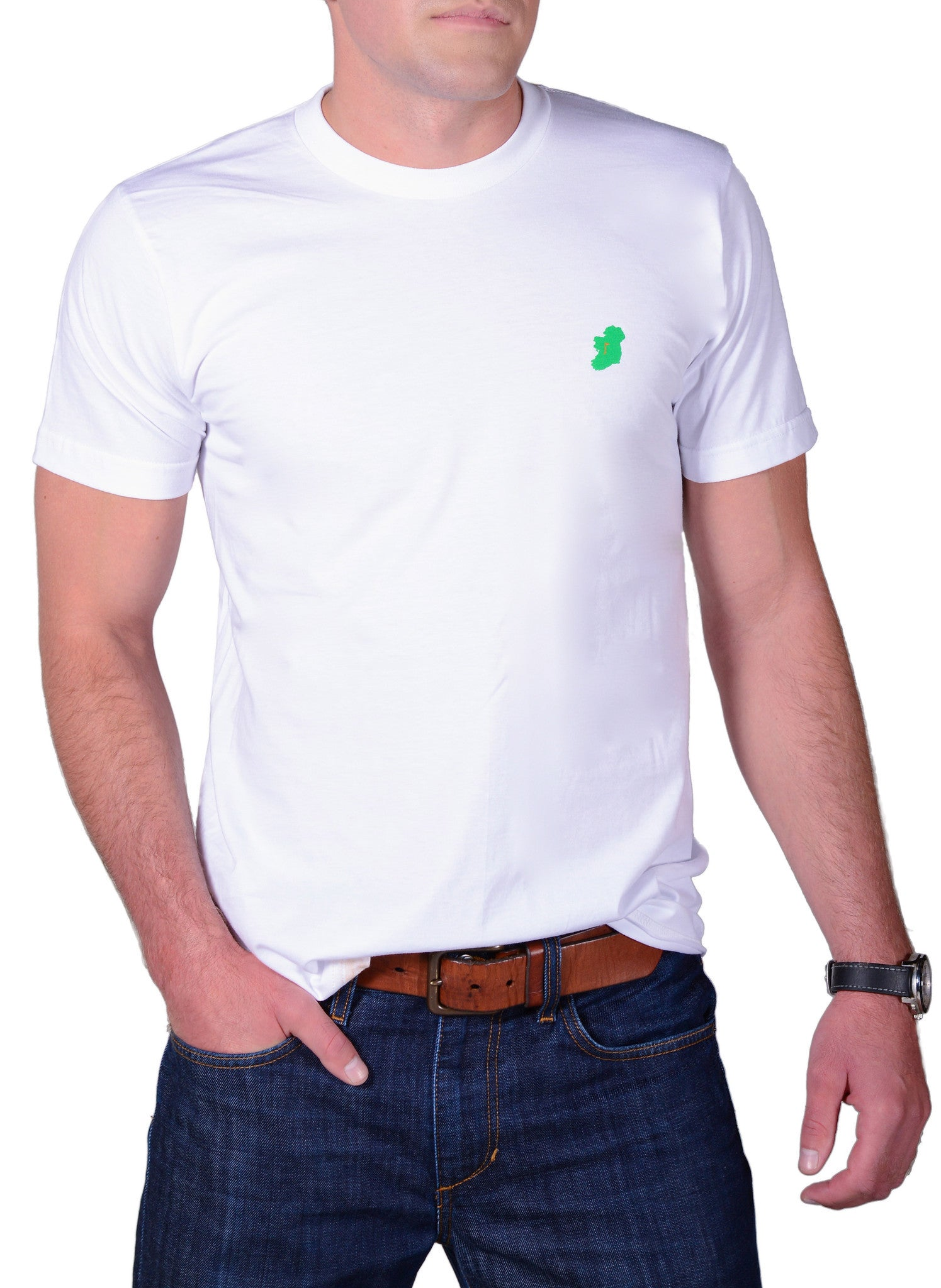 Men's White Slim Fit Irish T Shirt by Ireland Shirt