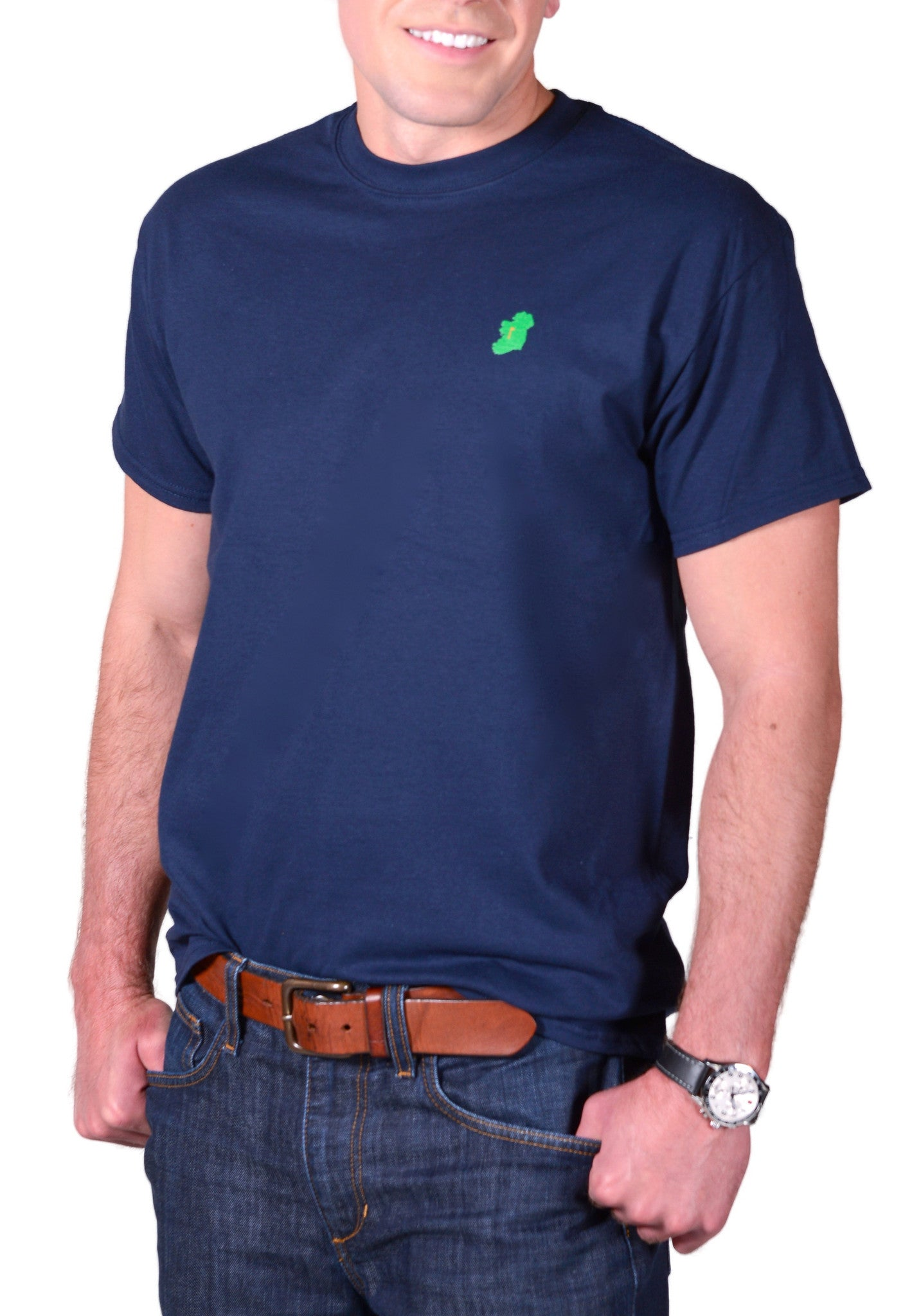 Men's Navy Blue Short Sleeve Irish T Shirt by Ireland Shirt-1