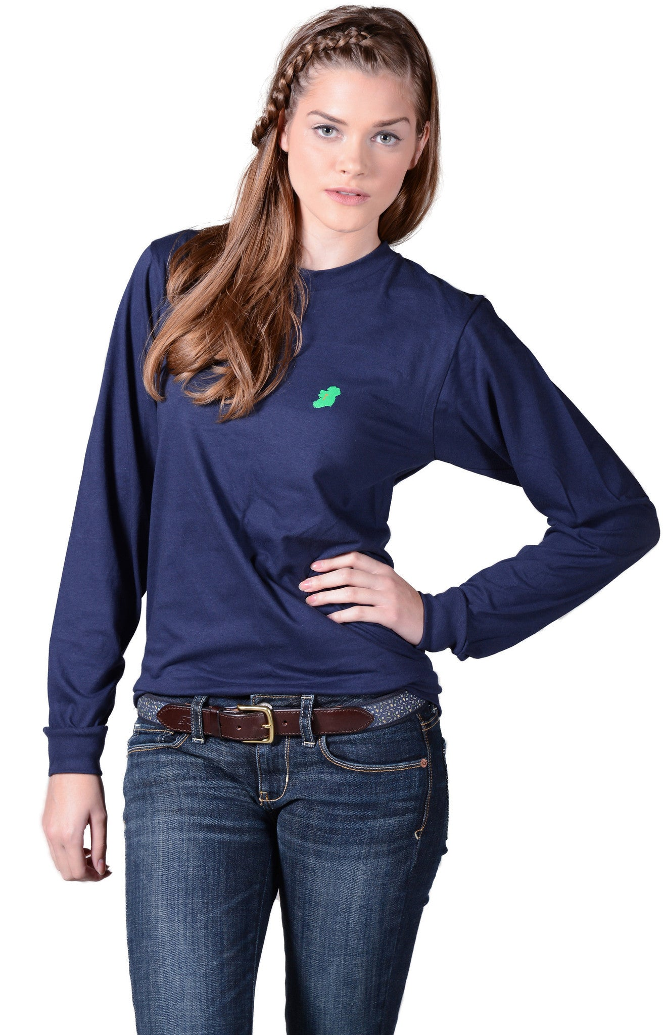 Long Sleeve Irish T Shirts for Ladies in Navy Blue by Ireland Shirt