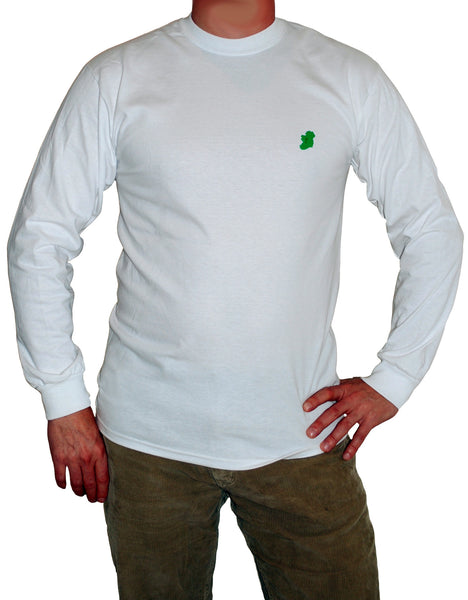 Men's Long Sleeve White Irish T Shirts by Ireland Shirt