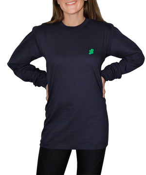 Ladies Navy Blue Long Sleeve Irish T Shirts by Ireland Shirt