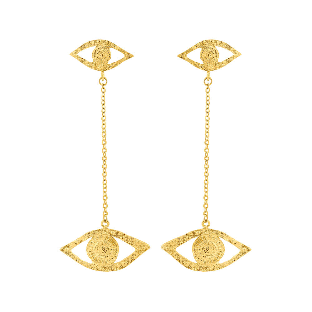 Earrings Ojos with Chain